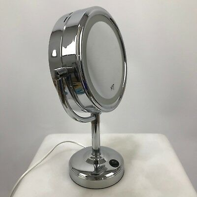 NO.7 Silver Chrome Double Sided Magnified 360 Illuminated Makeup Mirror 301395