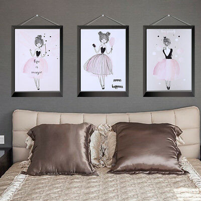 Cute Cartoon Girl  Wall Art Canvas Poster Print Nordic Style Painting Home Decor