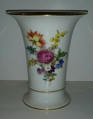 Meissen Porcelain Trumpet Vase  -  Floral & Gold - 6 1/2 Tall - Germany