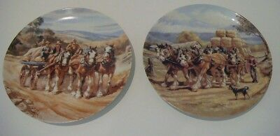 2 x Plates from Our Mighty Clydesdales by John Cornwell by Decor Ceramics - 1993