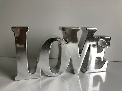 * NEW MODERN CONTEMPORY SILVER LOVE SIGN WORD block sculpture ornament gift.