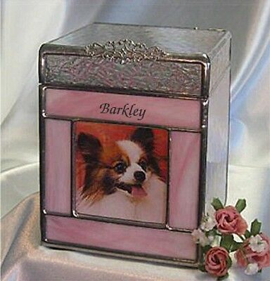 Pet cremation Urn, Dog,Cat,Bunny,Ferret,Sharing, Stained glass pink (small)