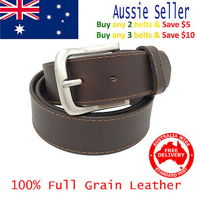 New 39mm Full Grain Premium Quality Single Stitched Brown Leather Mens Belt