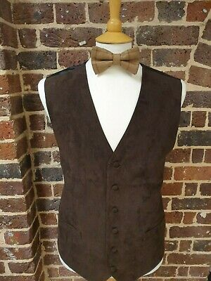 """BROWN SUEDE LOOK WAISTCOAT NEW MEN`S  Soft """"Washable"""" waistcoats 34"""" - 58"""" CHEST"""