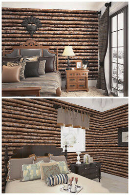 Reclaimed Wood Wallpaper Peel & Stick Thicker Material Tree TrunkLog Cabin Wall