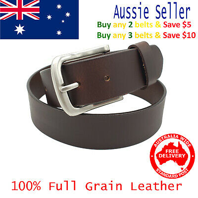 New 39mm Full Grain Cowhide Premium Quality Plain Brown Leather Men's Jeans Belt