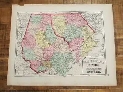 Antique MAP-MARYLAND/CO'S OF BALTIMORE & HARFORD / 1873 Topographical Atlas
