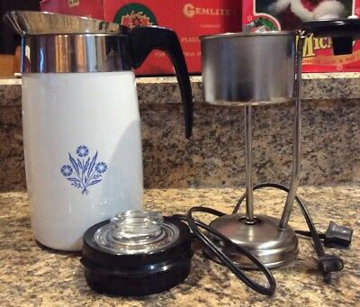 Corning Ware Cornflower 10 Cup E1210 Electric Percolator Coffee Pot - Complete