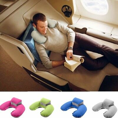 U-shaped Inflatable Neck Support Pillow Nap Headrest Great for Travel Car Flight