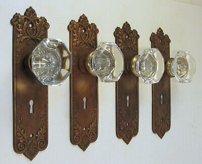 1 Pair of Refurbished Antique JUMBO Glass Door Knobs and Ornate Backplates