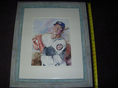 Mickey Mantle original watercolor painting framed 19x24 water color paper!!!