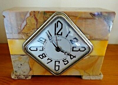 Art Deco French Marble Mantle Alarm Clock Inscribed '963 Regiment' (Damaged)