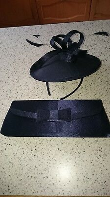 Navy Fascinator Hat (hatinator) and matching bag - Mother of the Bride - Wedding