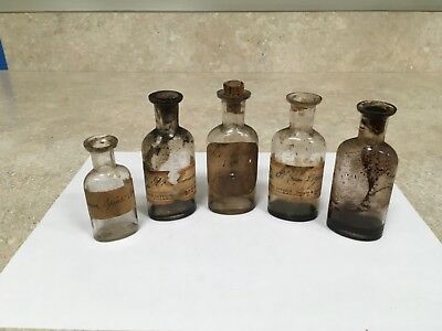 5 Antique Medicine Bottles w/ labels from New Hampshire Pharmacy  circa 1870's
