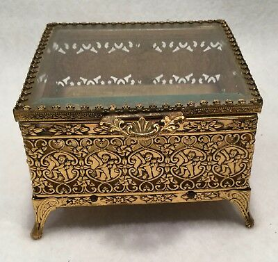 ESTATE Square Footed Ormolu Jewelry Casket w/ Clear Beveled Glass Lid - MATSON?
