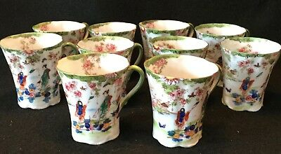 10pc 19th c. Kutani Hand Painted Japanese Eggshell Porcelain Chocolate Cup Lot