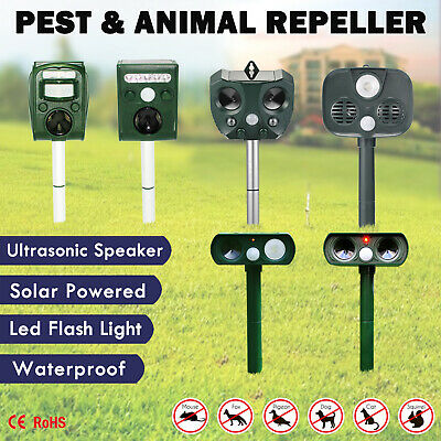 Solar Ultrasonic Bird Animal Repeller Pest Possum Deterrent Repellent PIR Sensor
