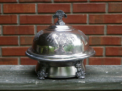Antique 3 Pc Silverplate Butter Dish With Domed Lid-4 Face Feet-Tapestry Design