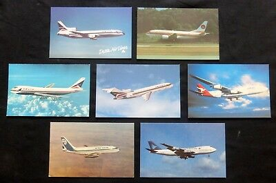 LOT  of 7  AIRLINE JETS  Post Cards   Uncirculated  #2617
