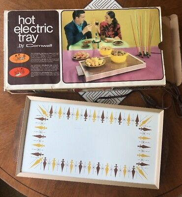 Vtg Atomic Hot Electric Tray by Cornwall Buffet Food Warming Tray Mid Century