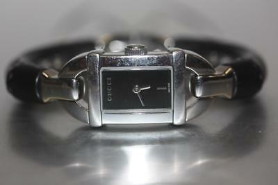 4dc55ef0f5d Gucci 6800L Bamboo Collection Stainless Steel Black Bangle Cuff Women s  Watch