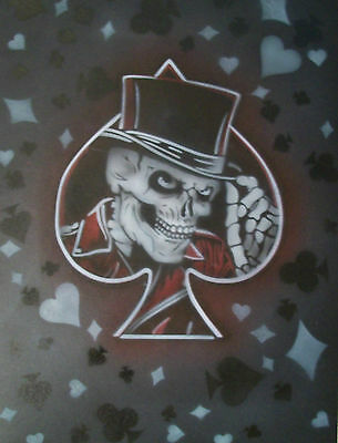 Playing Gentlmen Hat Skull Spades Hearts Diamonds Clubs Biker Airbrush Stencil