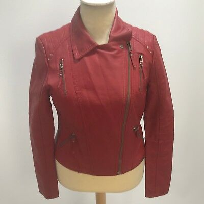 GUESS Red Jacket Women's Faux Leather Everyday Funky Evening UK 12 30429