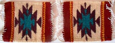Rare Matched set of TWO Zapotec Wool hand made woven 5 x 5 inch Rug or Coaster