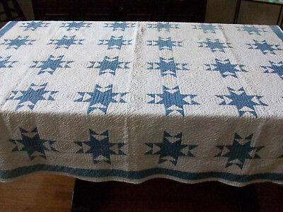 ANTIQUE QUILT, Blue and White, 8-Point STAR, 60x70 restored, c.1870's, FLAWS