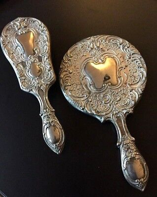 Vintage Art Nouveau Style Silver-Plated Mirror and Brush Set