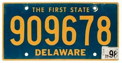 """Delaware 1998 """"The First State"""" License Plate, 909678"""