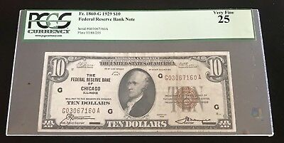 $10 1929 Chicago, IL National Currency Bank Note Bill F. 1860-G Very Fine