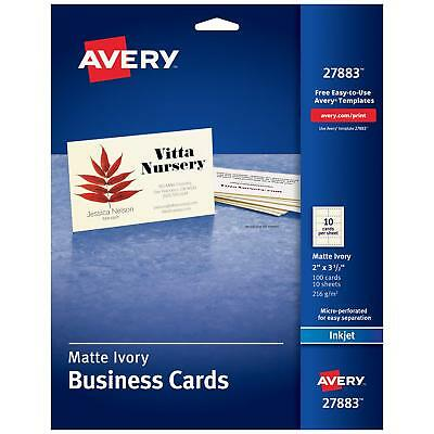 Avery Printable Business Cards Inkjet Printers Cards 2 x 3.5 Ivory 27883