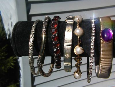 BEAUTIFUL Estate LOT of (7PCS)  Antique/Vintage BANGLE rhinestones+ BRACELETS