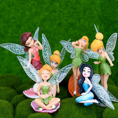 6 PCS Flower Fairy Pixie Fly Wing Family Miniature Dollhouse Garden Ornament