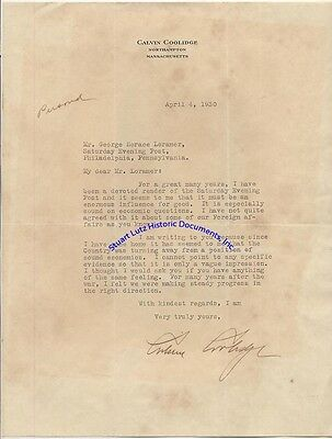 """Calvin Coolidge signed letter 1930 re US moving away from """"sound economics"""""""