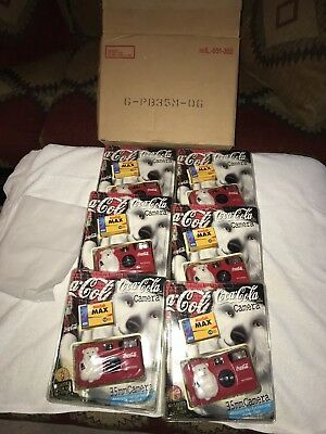 FULL CASE OF 6 -1999 Coca-Cola 35mm Camera Polar Bear New in Package Sealed