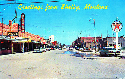 "MT Montana Shelby: ""Greetings from Shelby"" Plastichrome Postcard (Mid-late 50s)"