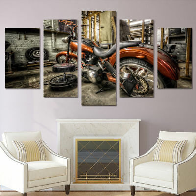 Vintage Motorcycle Racing 5 Pieces canvas Wall Art Picture Poster Home Decor