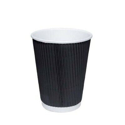 300 x Kraft 12oz Ripple Paper Cups + White LIDS 3 Ply Insulated For Tea Coffee C