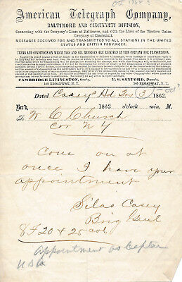 A telegram from Civil War General Silas Casey concerning a military appointment