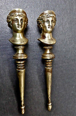 Pair of solid brass finials, lady and gentleman, five inches overall length