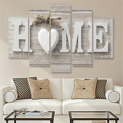 Love Home Letters 5 Pieces Canvas Wall Art Picture Poster