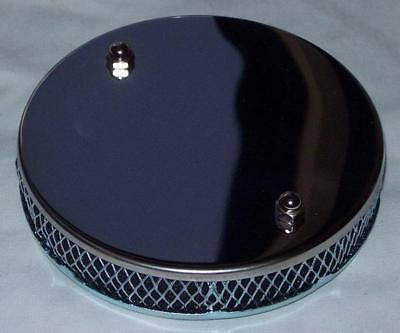 """Chrome Finish Stainless Steel Pancake Sports Air Filter SU 1 3//4/"""" HS6"""
