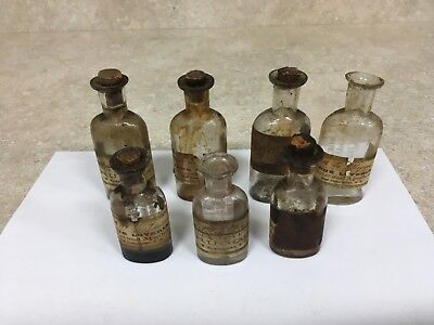 7 Antique Medicine Bottles w/ labels from New Hampshire Pharmacy  circa 1870's