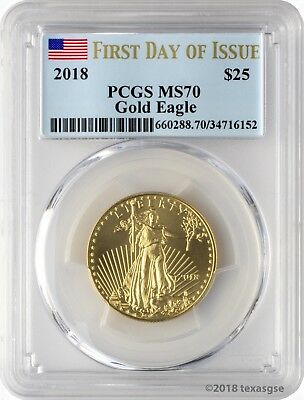 2018 $25 Gold Eagle PCGS MS70 First Day of Issue
