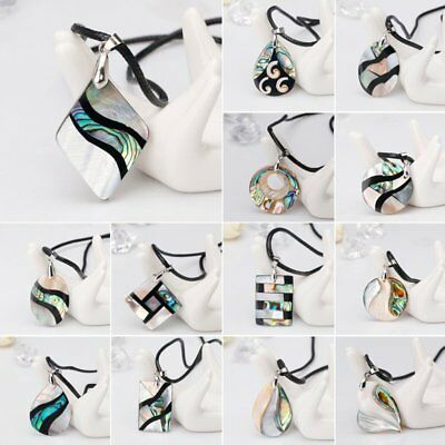 New Natural Geometric Paua Abalone Shell Leather Chain Pendant For Necklace Gift