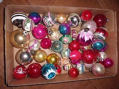 Lot of 43 Large Vintage Glass Shiny Brite Christmas Ornaments