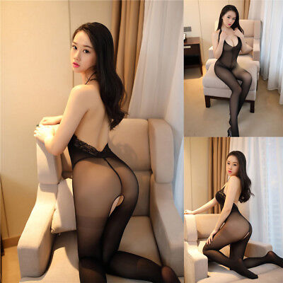 Womens Sexy Lingerie Halter Lace Backless Opening Hips Body Stocking Underwear
