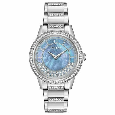 Bulova Women's Crsytal Turnstyle Mother of Pearl Dial Watch 96L260